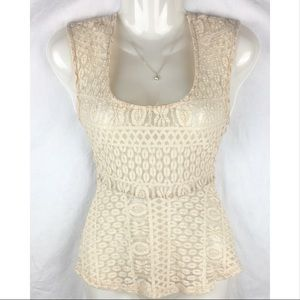 ⬇️$18 Lovely 135 Beige Lace Top With Train Medium